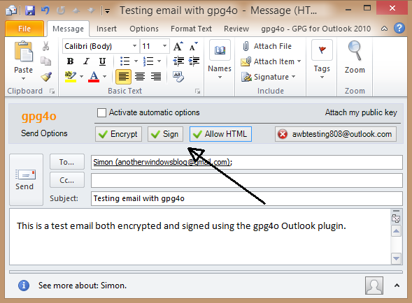 OpenPGP in Outlook with gpg4o - AnotherWindowsBlog