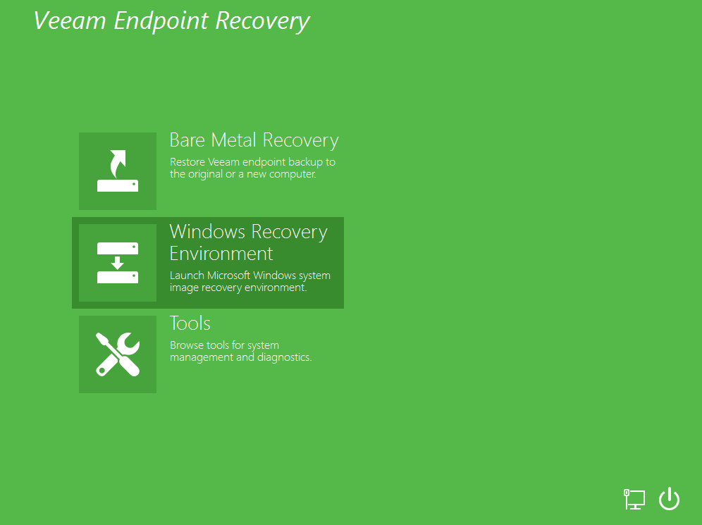 Veeam Recovery Page