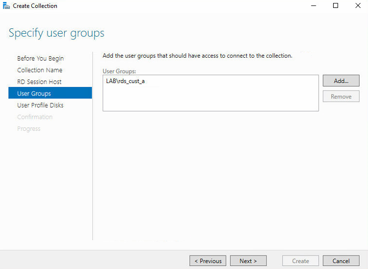 Collection User Groups