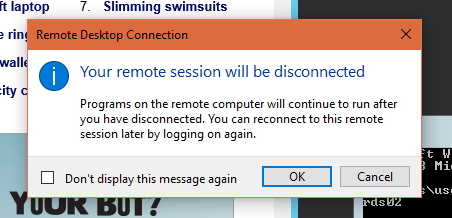 Disconnect Session Warning